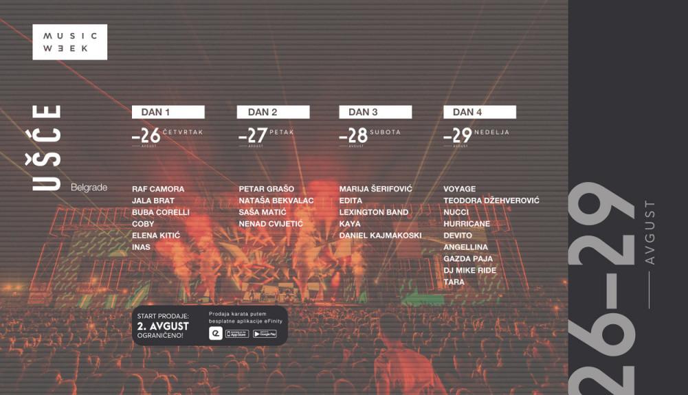 Pop i pop-folk ikone regiona na Belgrade Music Week-u: Marija Šerifović, Petar Grašo, Nataša Bekvalac, Saša Matić, Edita u avgustu na Ušću
