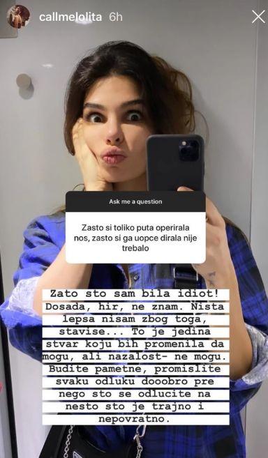 jovana đorđević instagram story